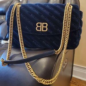 Balenciaga Bags - Navy blue velvet BB round balenciaga